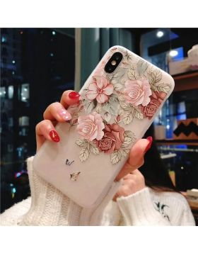 3D Relief Floral Soft Silicon iPhone Case - Brown