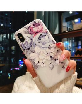 3D Relief Floral Soft Silicon iPhone Case - Purple