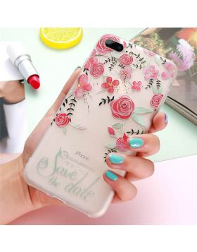 3D Relief Floral Soft Silicon iPhone Case - Red