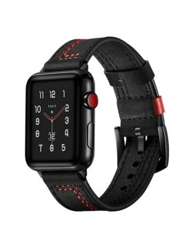 New Black Buckle Clasp Apple Watch Leather Bands Series 5/4/3/2/1