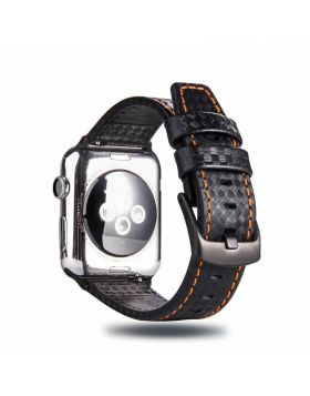 Carbon Fiber Style Apple Watch Leather Bands 38mm/40mm/42mm/44mm
