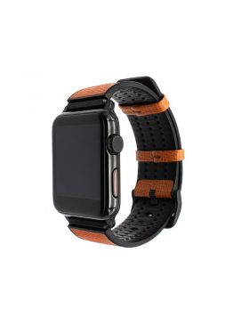 Italy Calf Leather and TPU Rubber Apple Watch Replacement Band Series 5/4/3/2/1