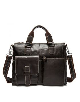 Men's Casual Leather Large Capacity Briefcase