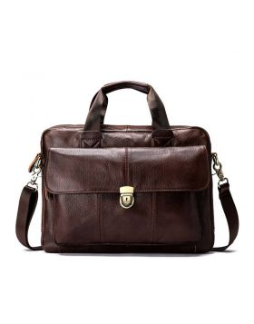 Men's Classic Leather Business Briefcase Bag