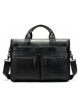 Men's Classic Leather Business Laptop Briefcase