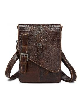 Men's Crocodile Embossed Genuine Leather Small Messenger Bag