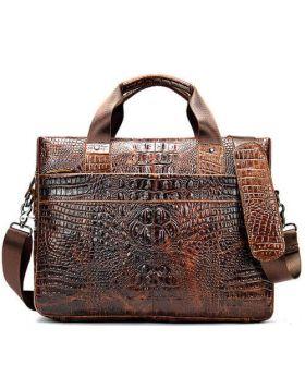 Men's Fashion Crocodile Leather Business Briefcase