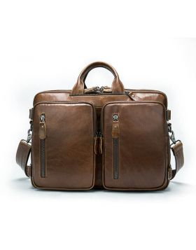 Men's Large Capacity Cross Section Leather Laptop Briefcase Bag