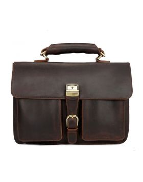 Men's Luxury Style Crazy Horse Leather Business Briefcase Bag