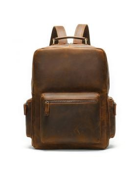 Men's Vintage Brown Crazy Horse Cow Leather Large Capacity Travel Backpack