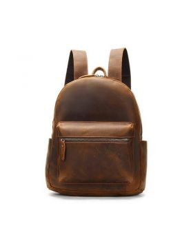 Men's Vintage Crazy Horse Leather Large Capacity Travel Backpack