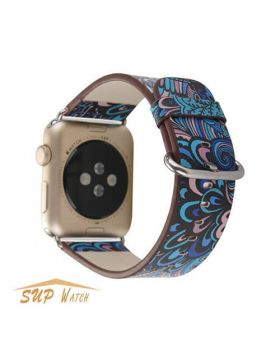 National Style Floral Printed Leather Watch Bands For Apple Watch 38mm/42mm/40mm/44mm