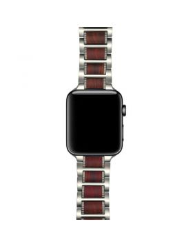Natural Red Sandalwood Stainless Steel Bracelet For Apple Watch Series 5/4/3/2/1