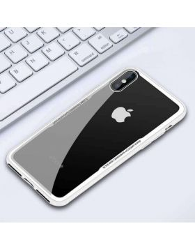 Shockproof Armor Transparent Tempered Glass Back Cover Clear Case for iPhone