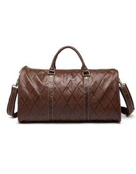Stitching Style Leather Large-capacity Travel Duffel Bag