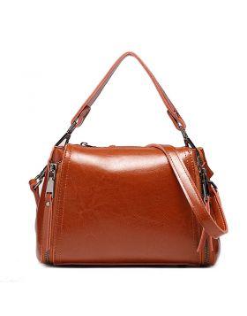 Women Cross Section Small Square Genuine Leather Crossbody Handbag