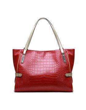 Women Fashion Crocodile Texture Genuine Leather Big Tote Handbag