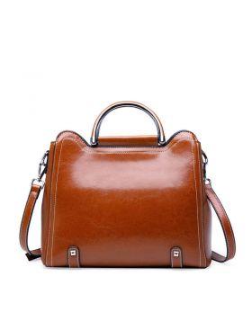 Women Fashion Genuine Leather Platinum Tote Bag