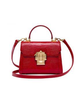 Women Genuine Leather Serpentine Lock Tote Bag