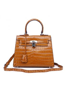 Women Kelly Style Brown Leather Crossbody Bag