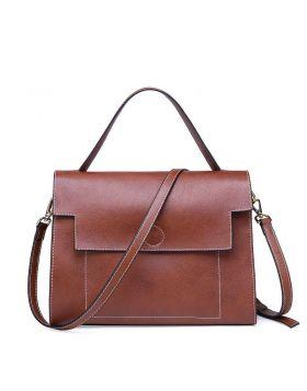 Women Leisure Series Genuine Leather Kelly Tote Handbag