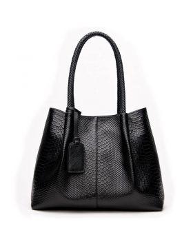 Women's Snake Knitted Leather Tote Handbag