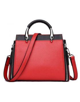 Women's Popular Contrast Leather Shoulder Bag