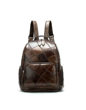 Women's Vintage Plaid Leather Backpack