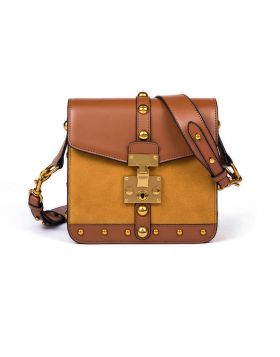 Women Suede Cowskin Gold Rivets Crossbody Bag
